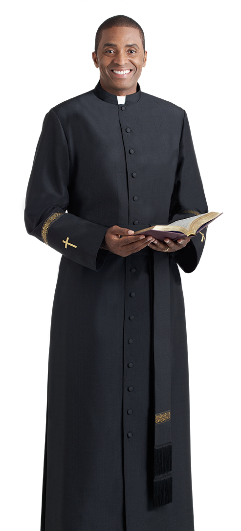 elegant bishop cassock gold metallic cross