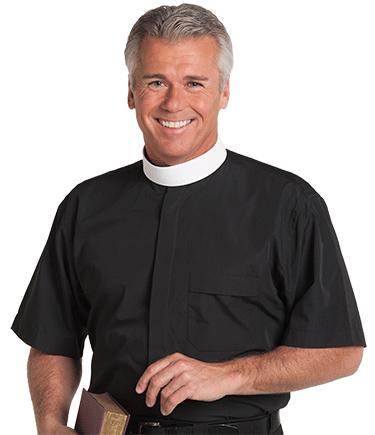 Men's Neckband Collar Black Clergy Shirt with Short Sleeves