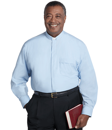 Men's Tab Collar Light Blue Clergy Shirt with Long Sleeves