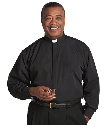 Men's Tab Collar Black Clergy Shirt with Long Sleeves