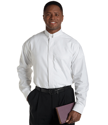 Men's Tab Collar White Clergy Shirt with Long Sleeves