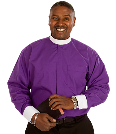 Men's Purple Clergy Shirt with French Cuffs
