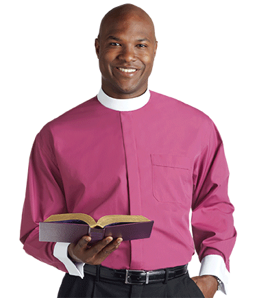 Men's Banded Collar Roman Purple Clergy Shirt with French Cuffs