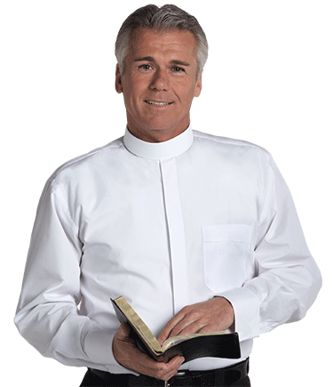 Mens Banded Collar White Clergy Shirt with Long Sleeves