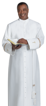 white bishop clergy cassock with gold crosses
