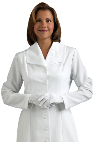 womens Clergy dress with praying hand