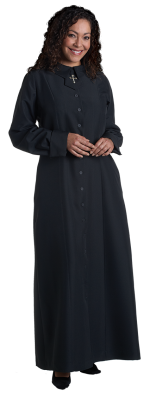 women's black church dress with latin cross