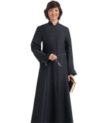 womens black clergy dress flaired sleeves