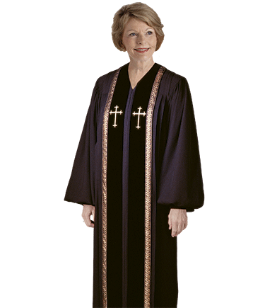 Women's Black Clergy Robes with Crosses