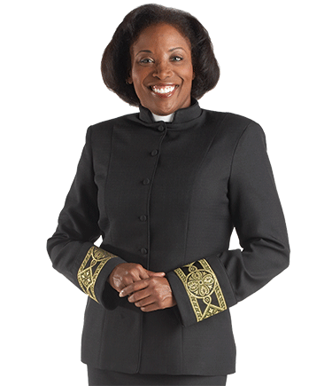 Women's Black Clergy Suit Jacket with Gold Banding
