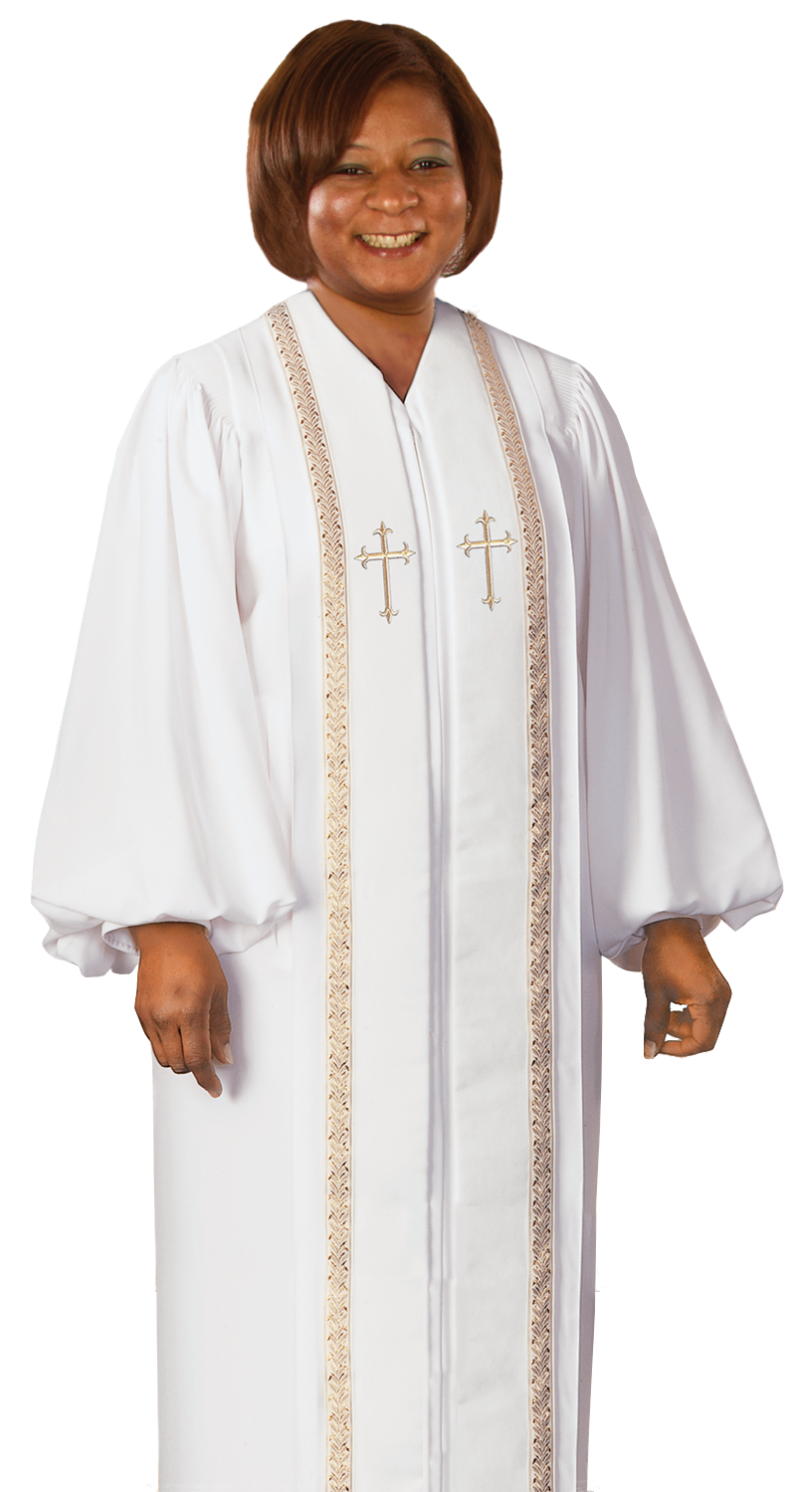 womens clergy robe white with gold trim