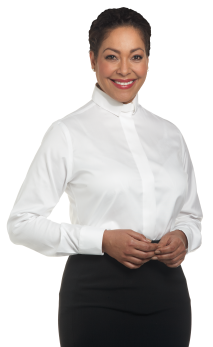 womens long sleeve white tab collar clergy blouse