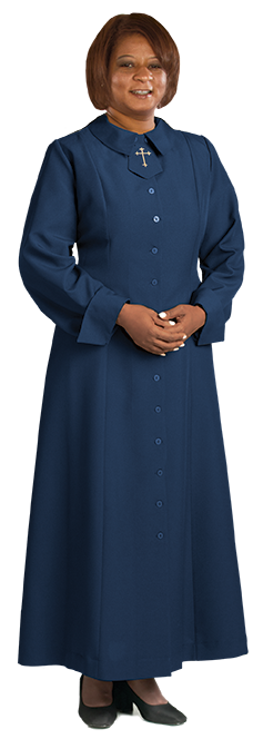 womens navy blue clergy dress