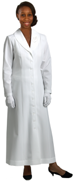 womens white clergy dress with descending dove