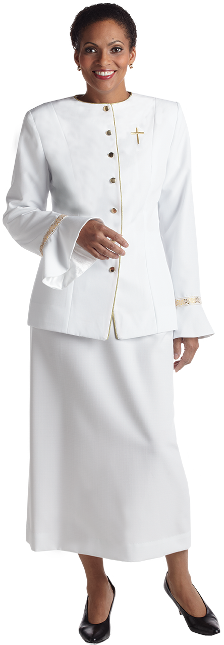 womens white clergy jacket with gold cross and Metallic Accents