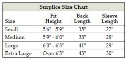 Clergy Surplice Size Chart