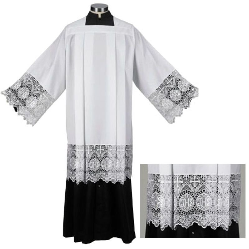 Clergy Surplice with IHS Lace
