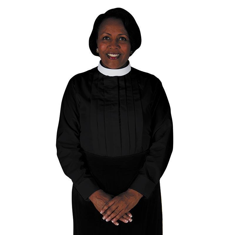 Women's Neckband Blouse - Long Sleeve Black