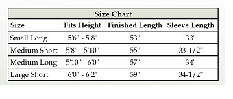 Men's Pastor Robes Size Chart