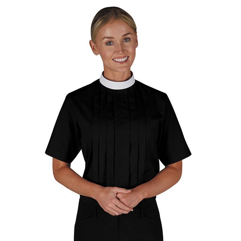 Women's Neckband Blouse - Short Sleeve Black