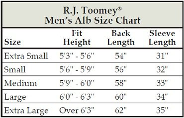 clergy alb size chart