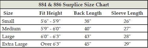 Surplice Size Chart