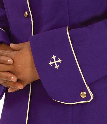 Womens Clergy Jacket Purple with Gold