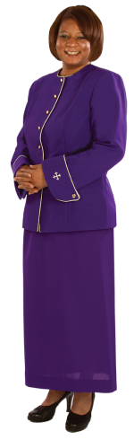 Women's Clergy Jacket Royal Purple Gold Accents and Crosses
