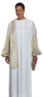 Women's Evangelist Clergy Robe White with Gold Metallic Accents