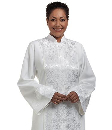 Women's White Clergy Robe with Brocade