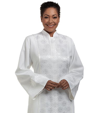 Women's White Clergy Robe with Brocade