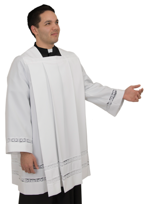 pleated clergy surplice for men and women
