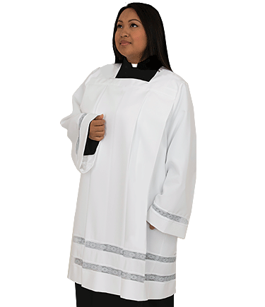 white clergy surplice for women with lace
