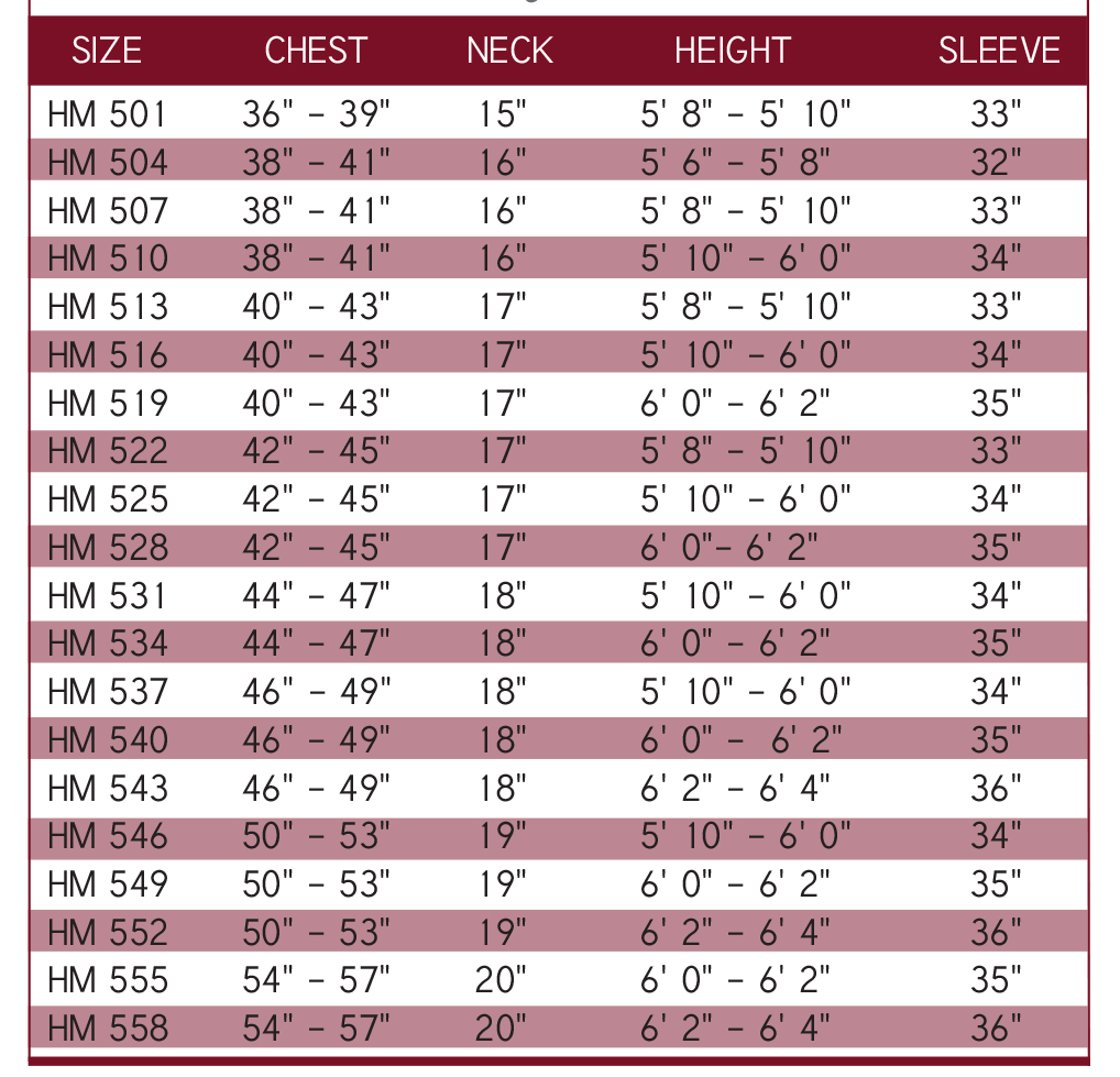 clergy robe size chart