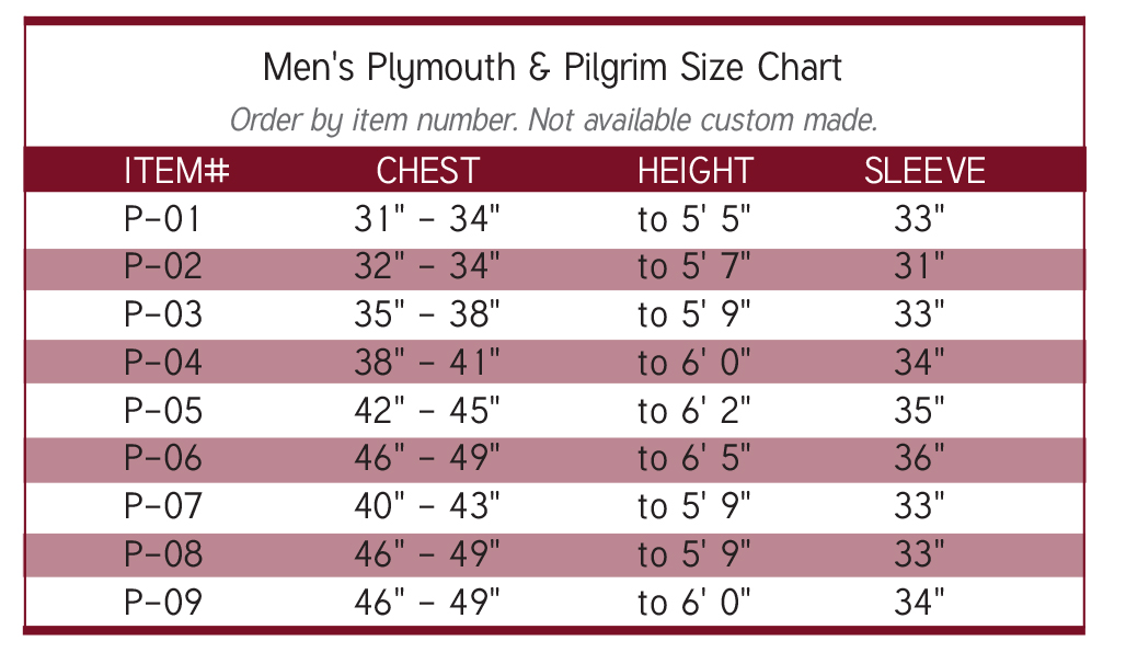 mens size chart pulpit robes