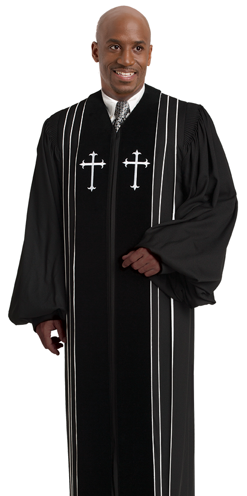 Pulpit Robe Bishop Black with Crosses and White Piping