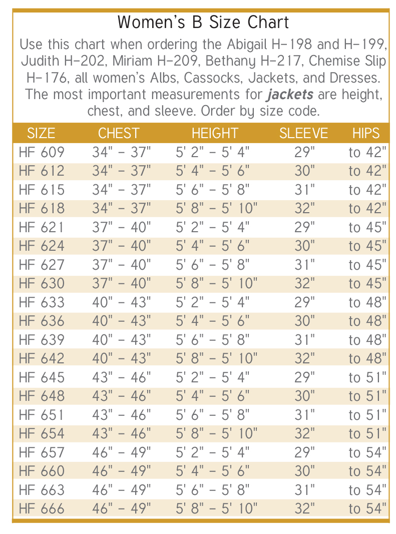 Womens Clergy Cassocks Size Chart