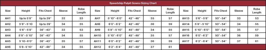 Men's Clergy Robe Size Chart