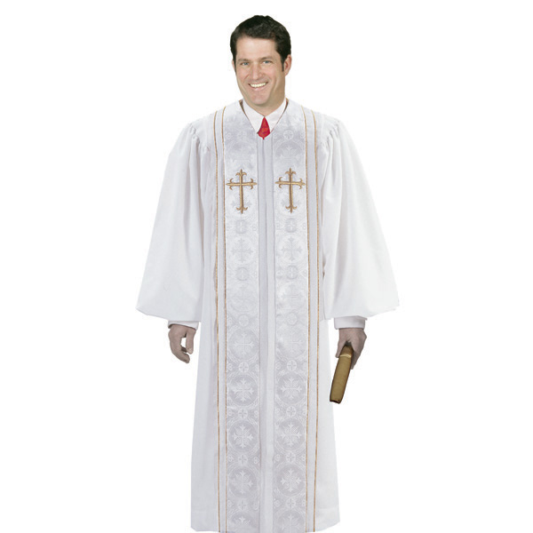 White Brocade Clergy Robes with Gold Trim