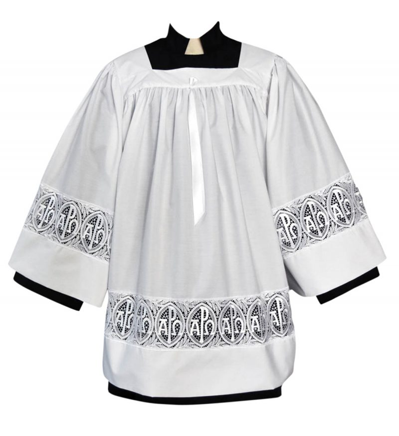 Clergy Surplice with Gold Alpha Omega Symbols