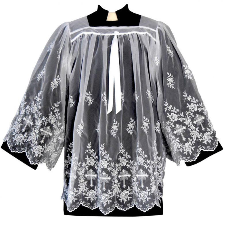 Sheer Nylon Clergy Surplice with Crosses