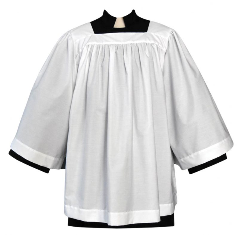 Cotton Blend Clergy Surplice with Square Neck
