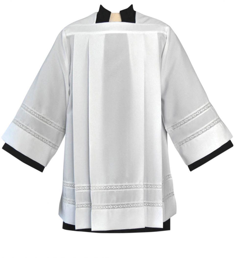 Tailored Clergy Surplice with Lace Banding