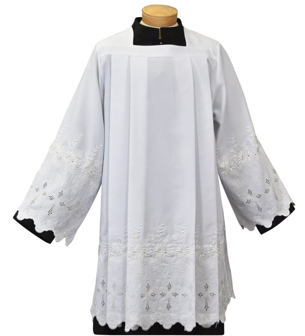 Easy Care Clergy Surplice with Embroidered Crosses