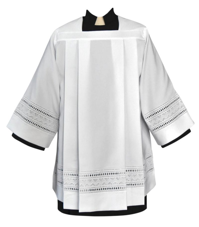 Tailored Clergy Surplice with Embroidered Eyelet