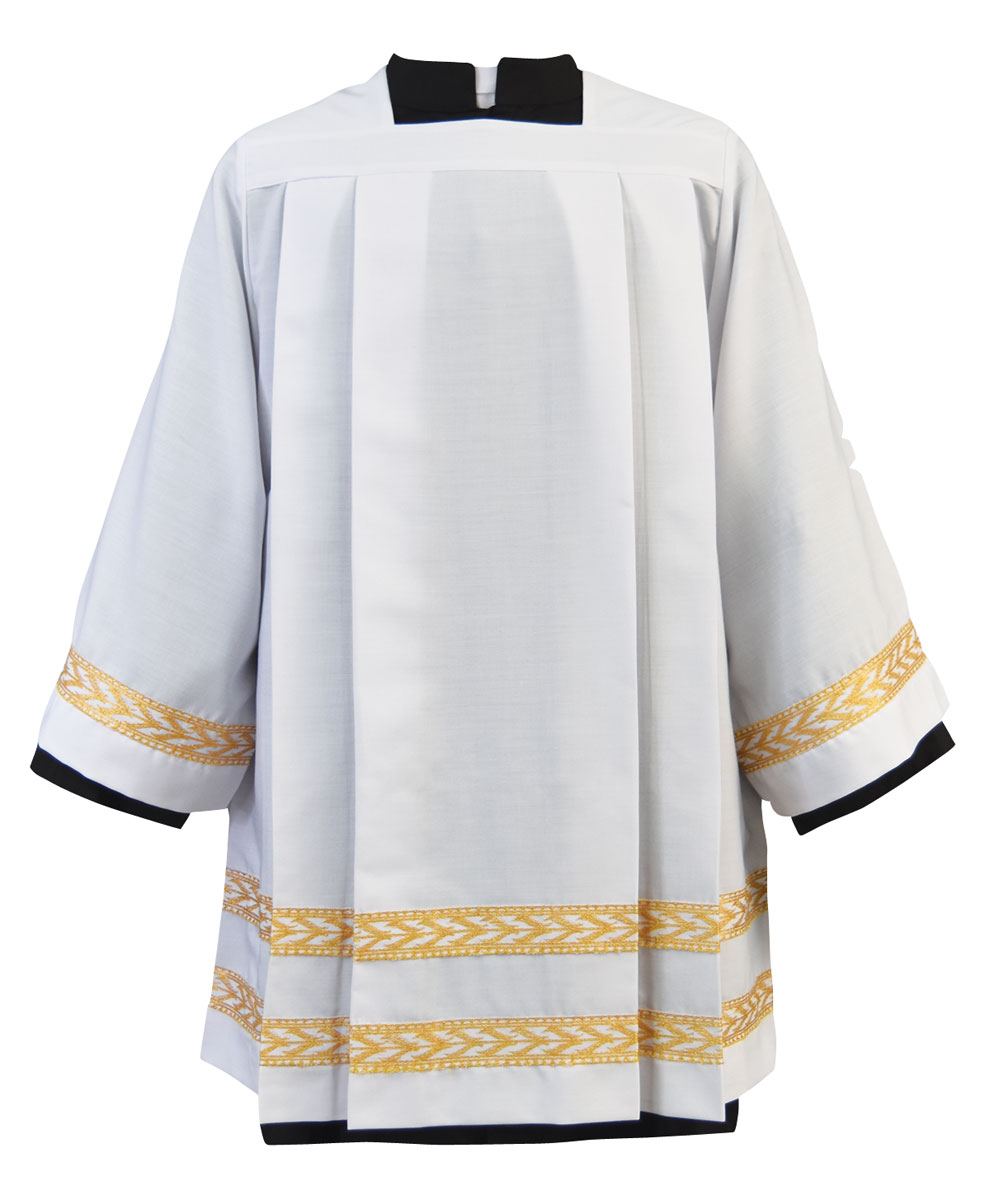 Pleated Clergy Surplice with Gold Embroidered Bands