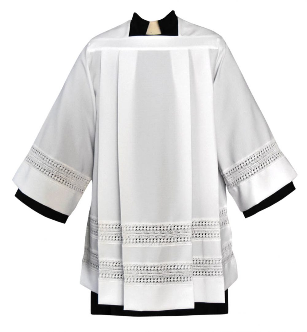 """Tailored Clergy Surplice with 3"""" Lace Bands"""