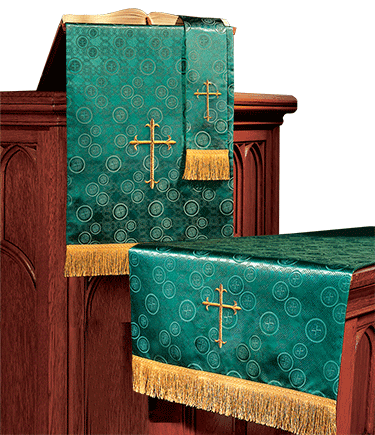 Church Altar Parament Set Green Brocade