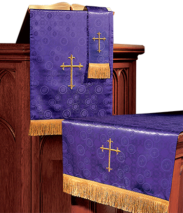 Church Altar Parament Set Purple Brocade