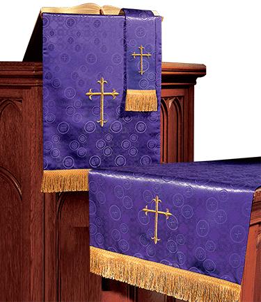 Church Altar Parament Set Purple Brocade